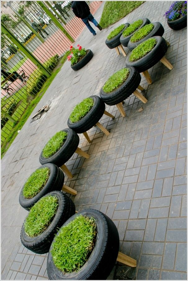 Photo of Upcycling tires – grass path
