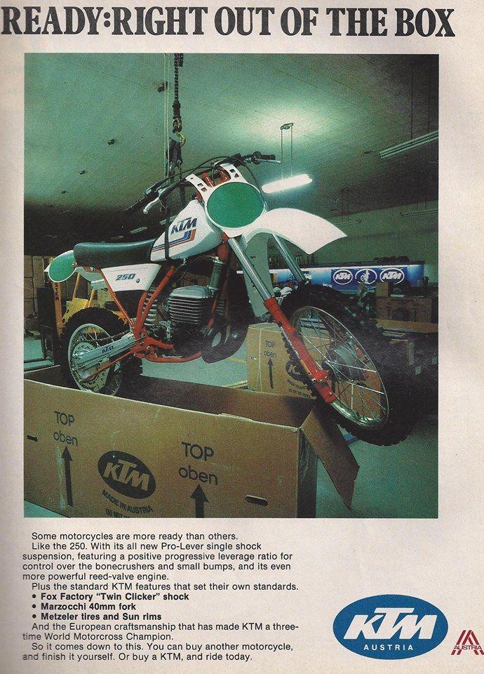 1983 Ktm In The Box Repinned By Http Www Motorcyclehouse Com Ktm Ktm Dirt Bikes Racing Bikes