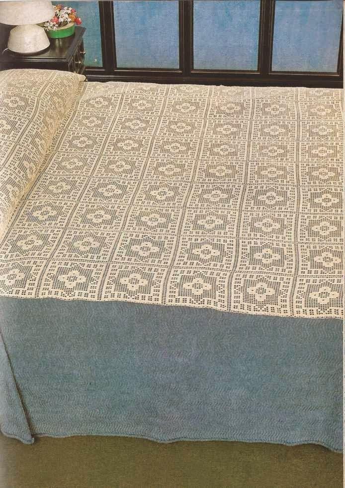 457 Cubrecama a punto de red a Crochet   colchas tejidas   Pinterest ...