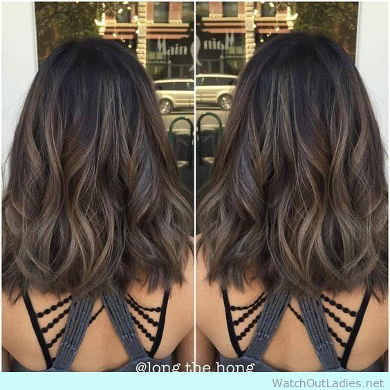 Winter Hair Color Ideas For Brunettes: Medium Lob With Waves And Caramel Ash Brunette Haircolor