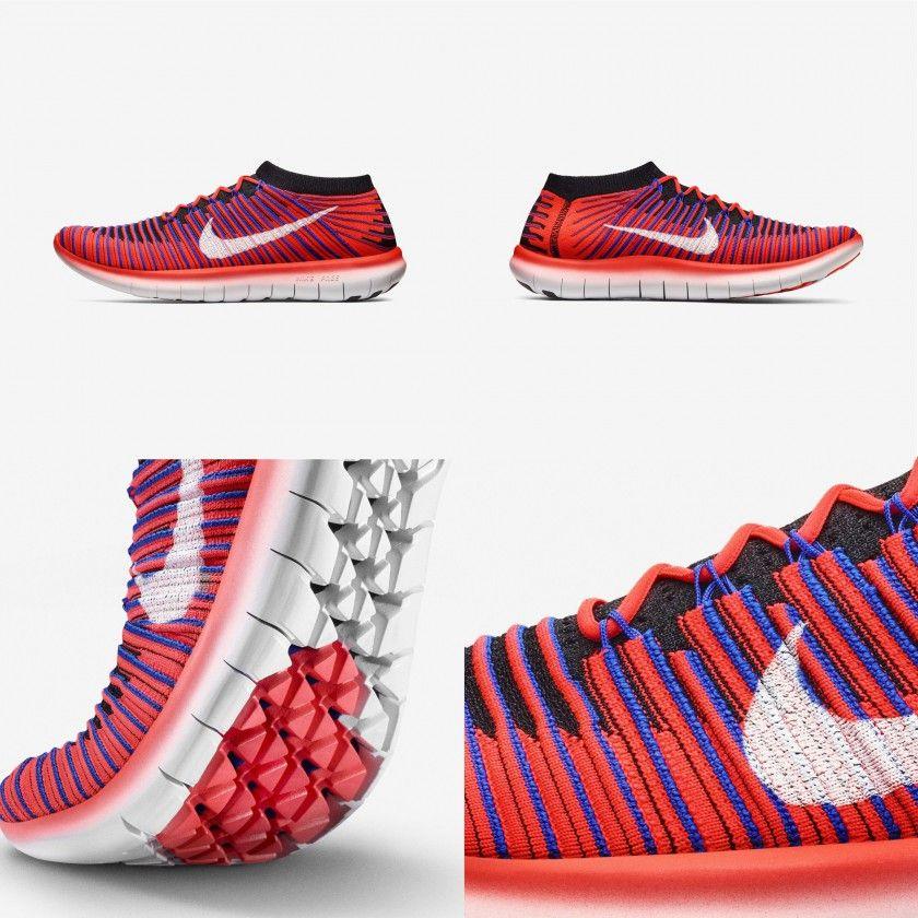 Nike Free RN Motion Flyknit Laufschuhe rot außen, innen