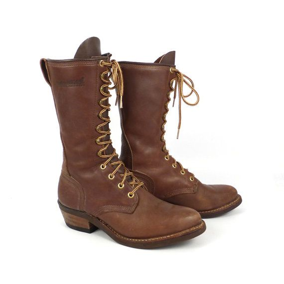 Roper Boots Vintage 1980s Golden Retriever Leather Brown Granny