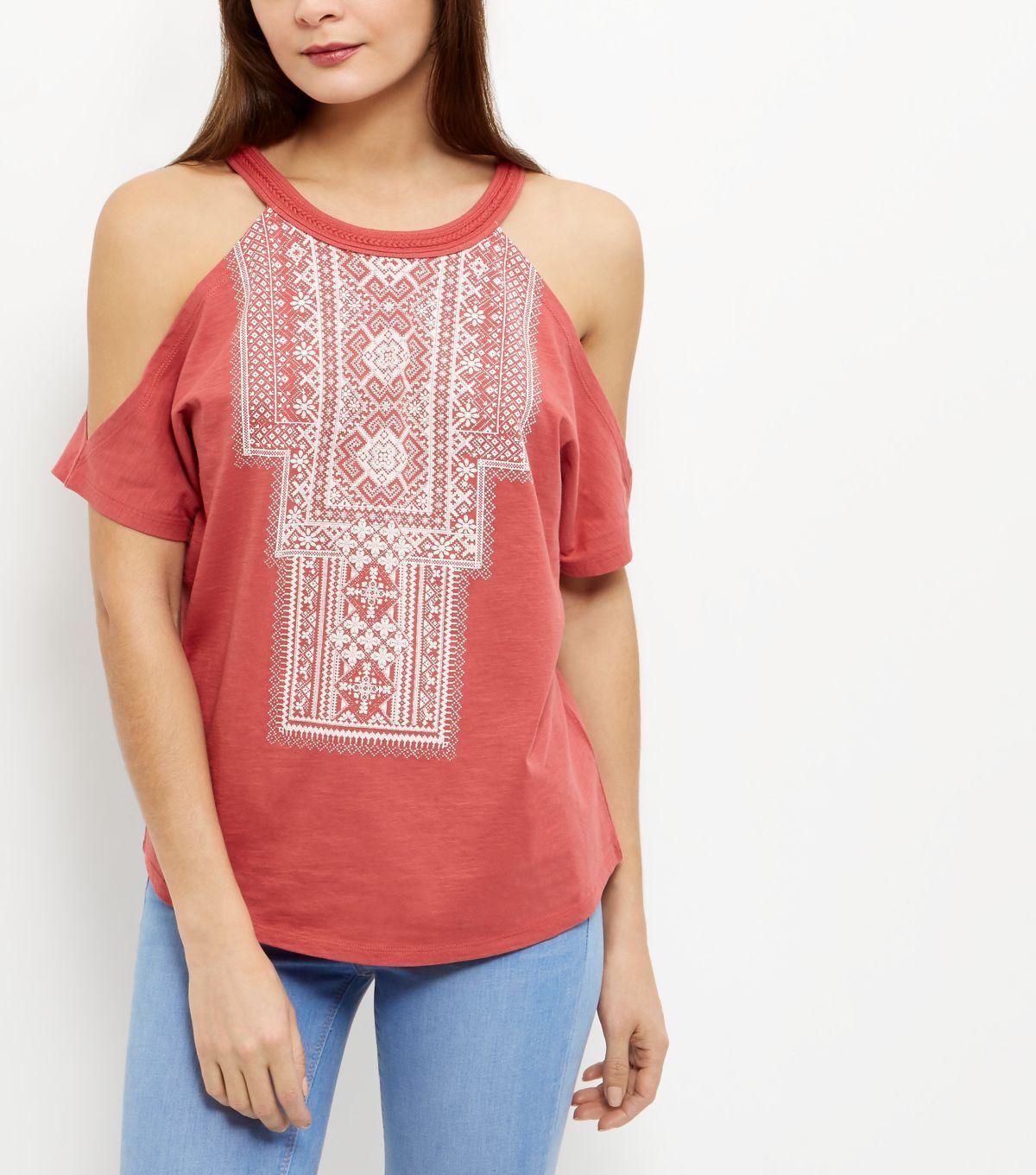 4c5266e3949a1 Mid Pink Aztec Print Cold Shoulder T-Shirt