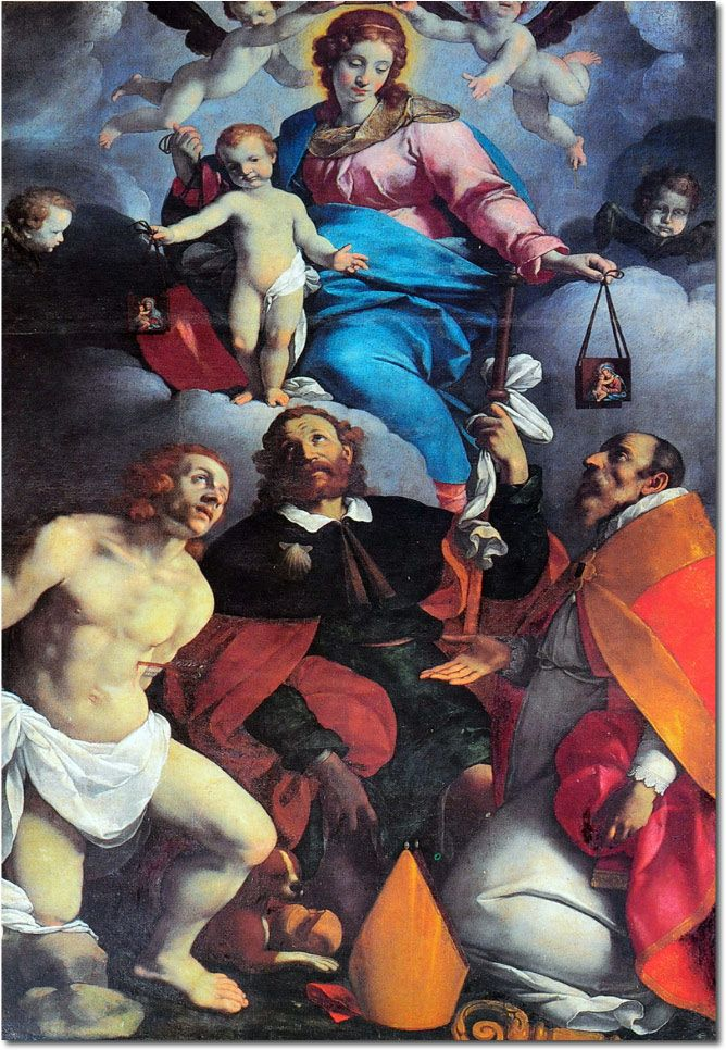 Carlo Ceresa (San Giovanni Bianco1609 – Bergamo1679) - La Madonna del Carmelo appare ai Santi Sebastiano, Rocco, Pellegrino - San Pellegrino Terme chiesa parrocchiale