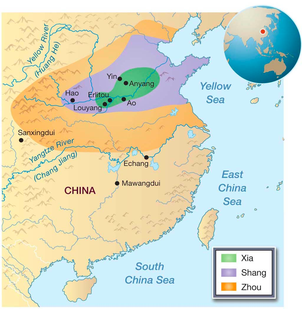 Map Showing The Boundaries Of The Xia Shang And Zhou Dynasties Of China