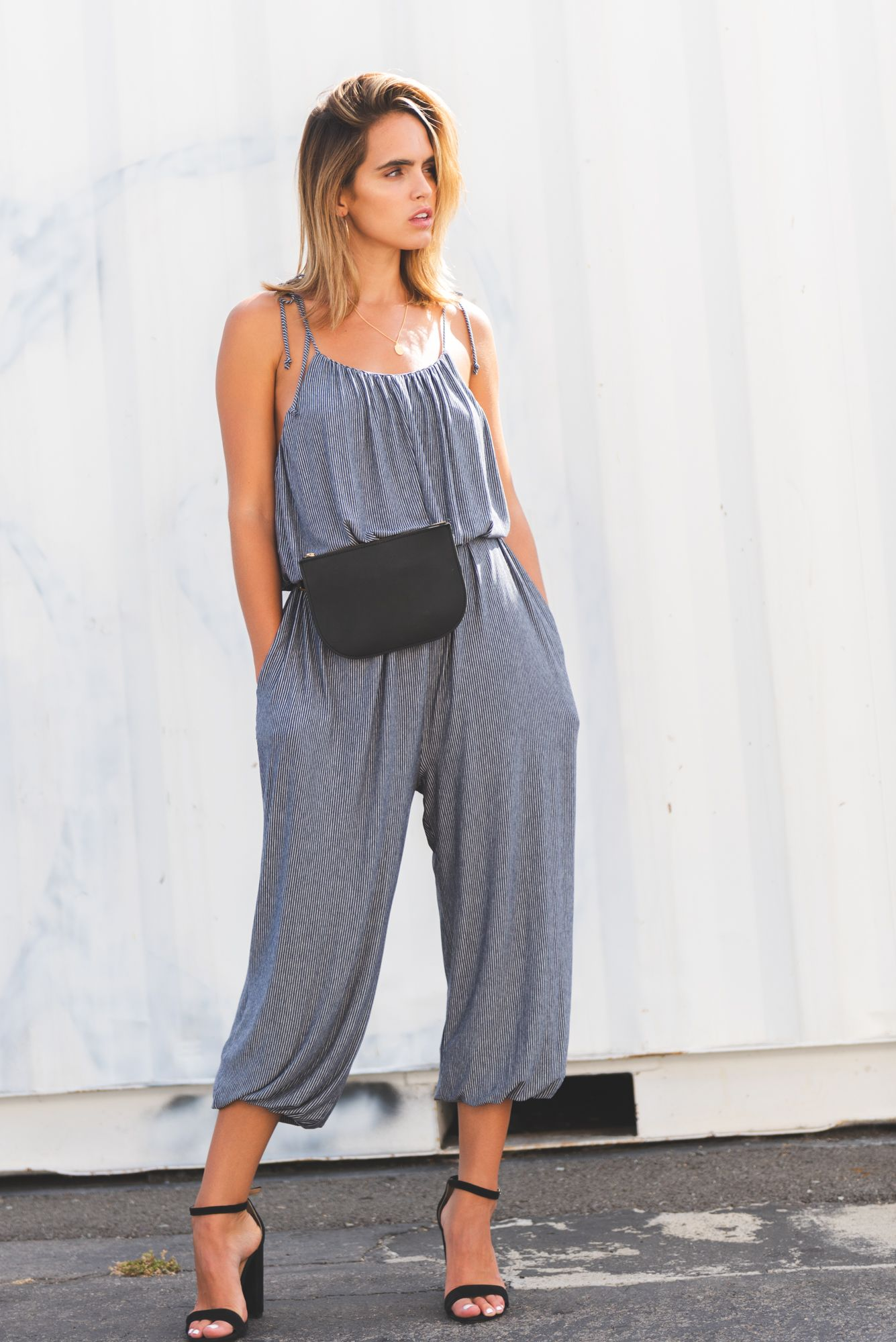 b8d60da6b25 Accessorized Outfit Ideas  Jumpsuit Striped Jumpsuit Belt Bag Leather Belt  Bag Vacation Outfit Ideas Summer Looks Summer Outfit Ideas Hot Weather  Outfit ...