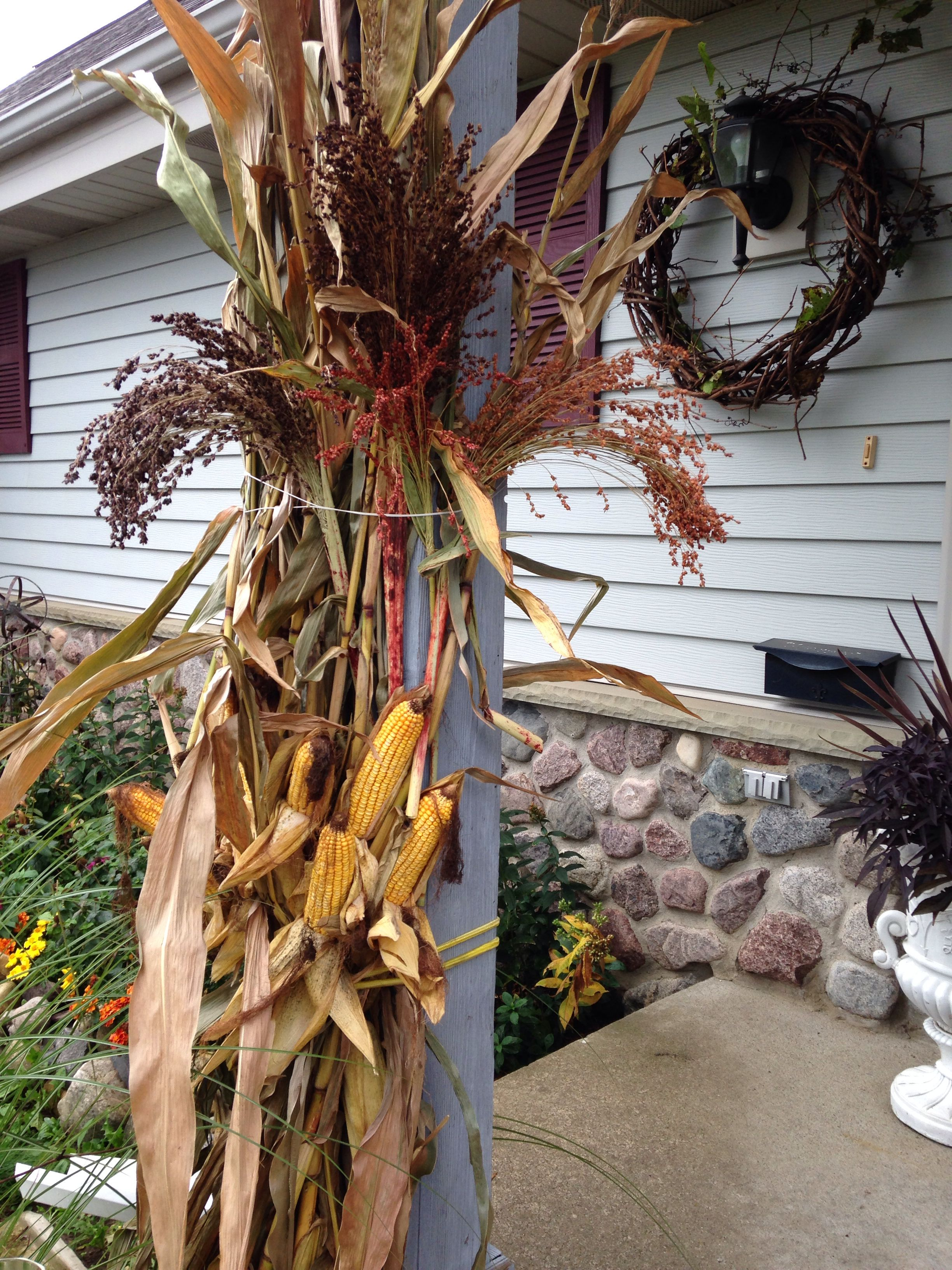 Broom Corn Added With Corn Stalks Adds A Nice Touch Broom Corn Fall Planters Fall Decor