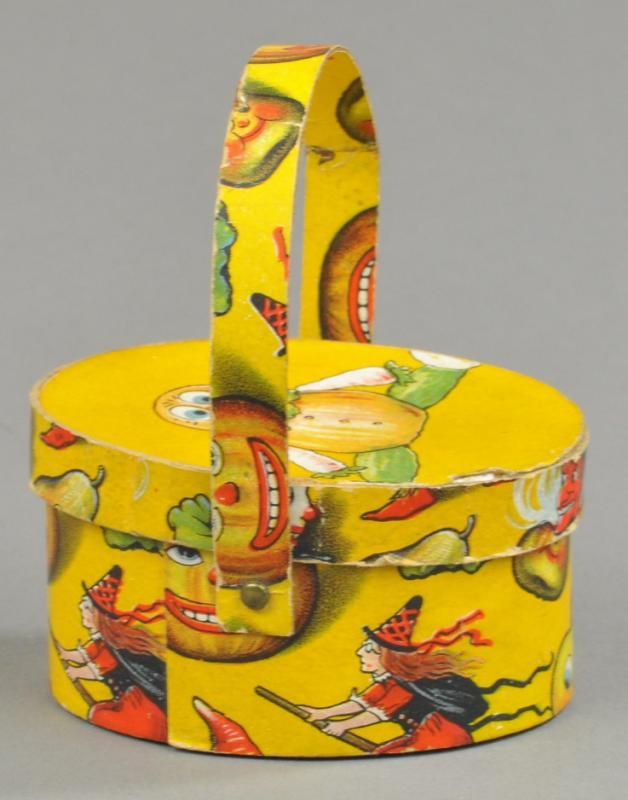 German painted pressed paper, wooden nosed Jack-O-Lantern candy container http://bertoiaauctions.hibid.com/lot/12872236/jack-o-lantern-faced-basket-candy-container