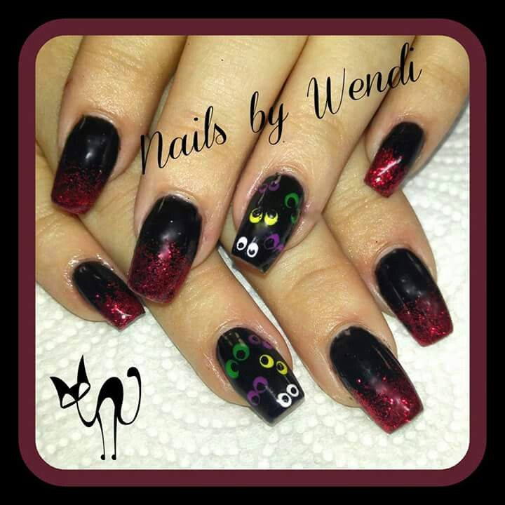 Halloween nails googly eyes black red glitter   Nails ...