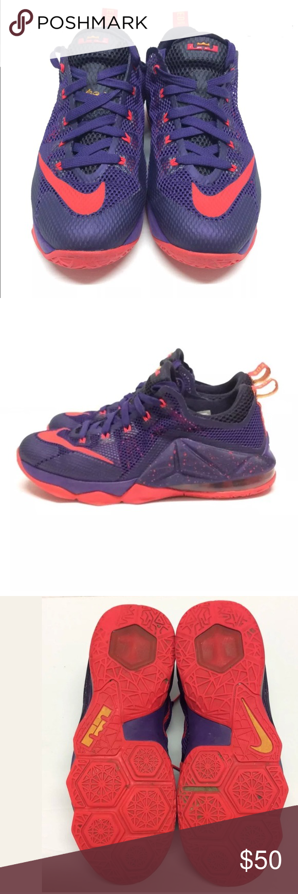 best website 153c5 5d109 🔥Nike Air Max Lebron 12 Sz 6.5 Youth Purple Red Nike Air ...