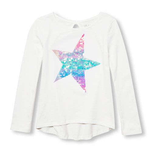 4c7513ed9687 Girls Long Sleeve Embellished Graphic Keyhole-Back Top | Products ...