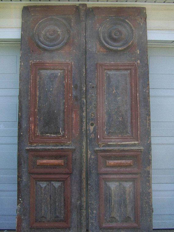 Antique Mediterranean Wood Doors With Raised Panels 100 Inches In Height 26 Inches In Width 1200 European Doors Two Panel Doors Wood Doors