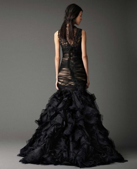 Vera Wang Black Asymmetrically Draped Chiffon And French Tulle Mermaid Gown With Hand Pieced Chantilly Lace Build Up Cascading Organza Eyelash Flange