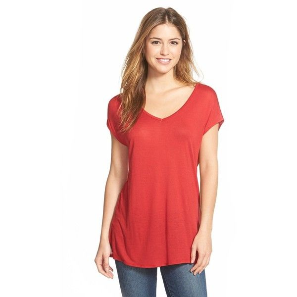 Petite Halogen Side Slit Double V-Neck Tee ($29) ❤ liked on Polyvore featuring tops, t-shirts, petite, red chili, short sleeve tops, v neck t shirts, petite t shirts, layering tees and red tee