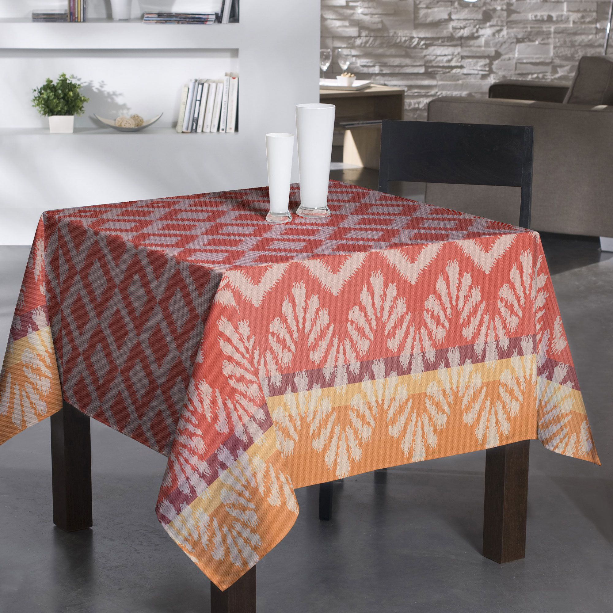Nappe carrée losanges rouge/orange 170x170cm IPANEMA