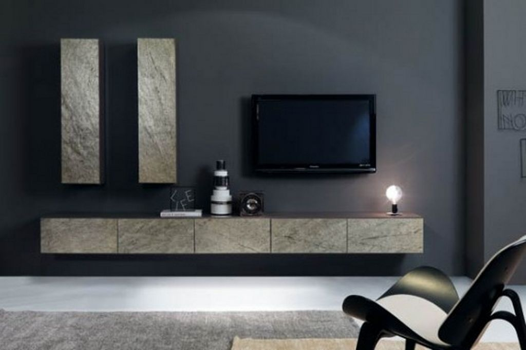 Living Room Contemporary Design With Grey Theme Apply Wall Decorated Slim Flat Sreen Tv And Modern Floating Cabinets
