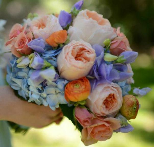 Wedding Bouquet: Purple, Peach Roses, Orange, And Blue