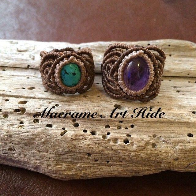 そして、流れでもう一つ作った!! ターコイズと、アメジスト!! #macrame #accessories #Fashion #gemstone #天然石#パワーストーン#アクセサリー#ハンドメイド#handmade  #ring#指輪#ターコイズ#アメジスト#turquoise#Amethyst
