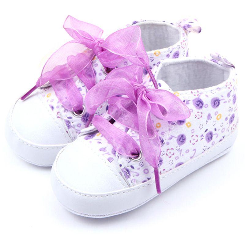 6f5731a3a2b40 Barato Infantil Sapatos de Bebê Floral De Algodão Meninas Infantil Suave  Sole…