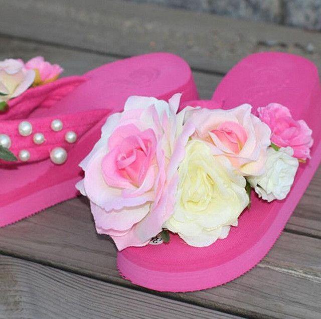 8798ec0b817693 summer women flip flops mules clogs wedge flower sandals garden shoes  handmade pearl slippers jelly color hawaiian beach sandals