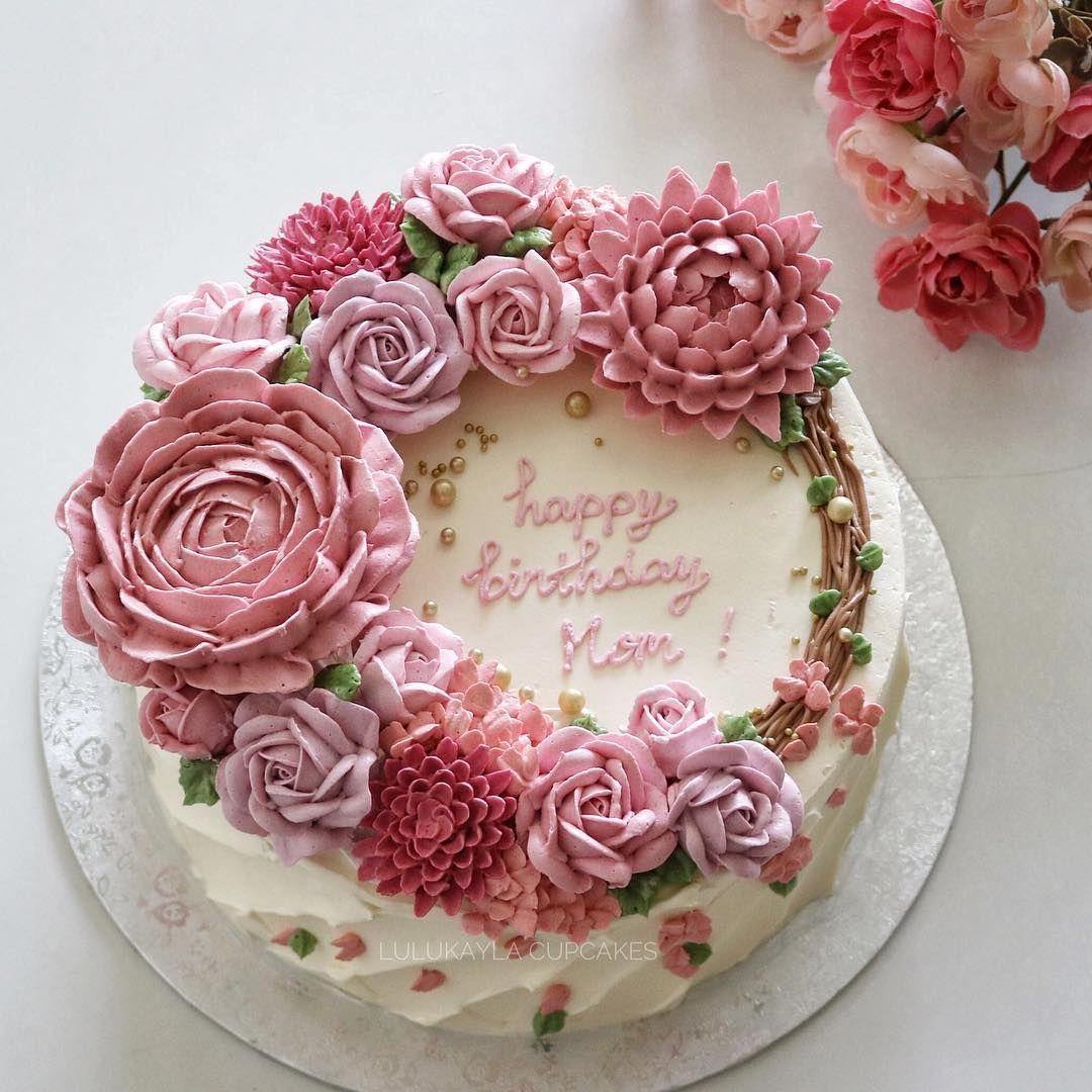 cakes cake flowerlk buttercreamcake birthdaycake