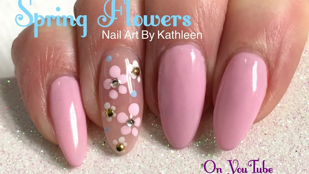 Easy Spring Flower Nail Art Tutorial - YouTube | Nail Art & Designs ...