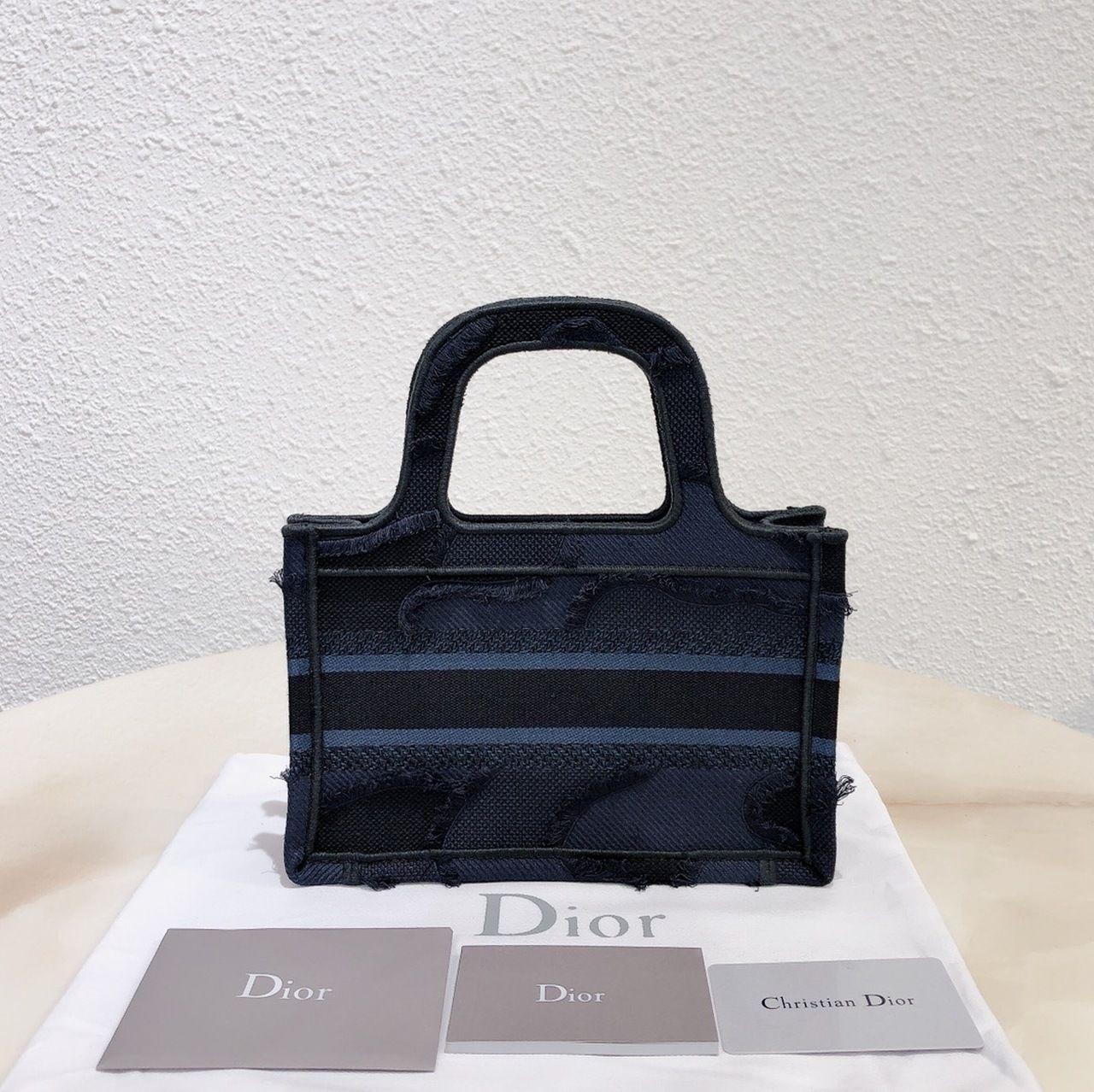 Christian dior denim blue mini dior book tote dior oblique