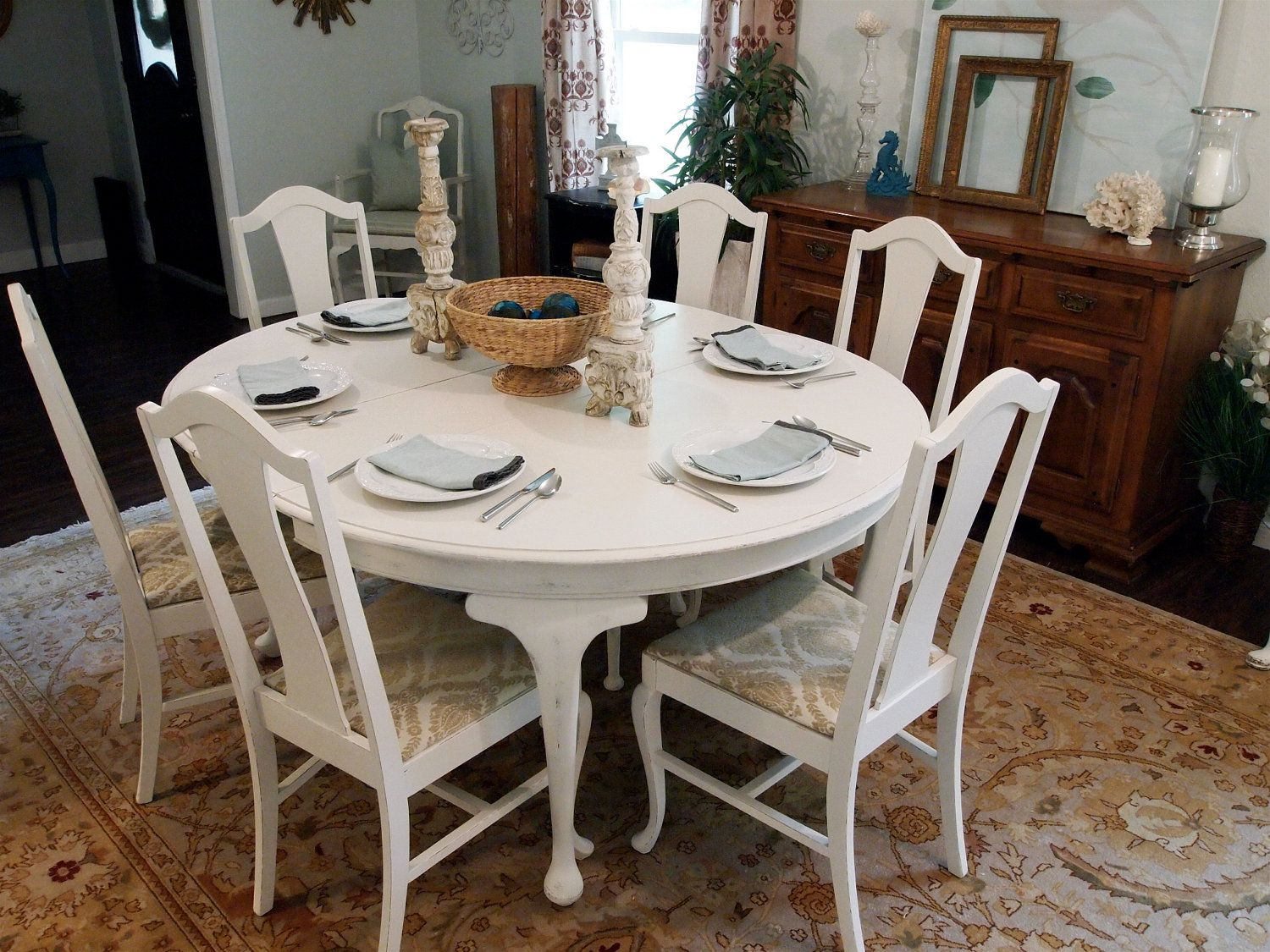 Painted white queen anne dining room set Farmhouse