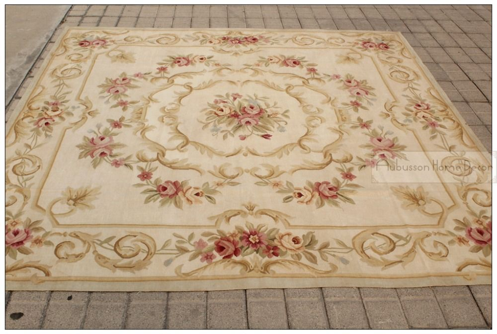 7x7 Square Antique French Decor Aubusson Area Rug Pastel