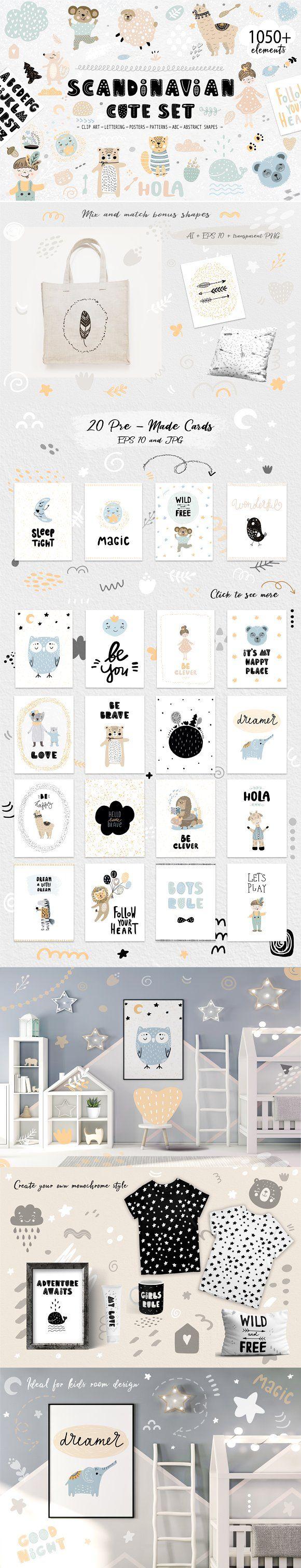 Scandinavian Cute Set For Kids Kids Cartoon Characters Cute Clipart Kids Room Design