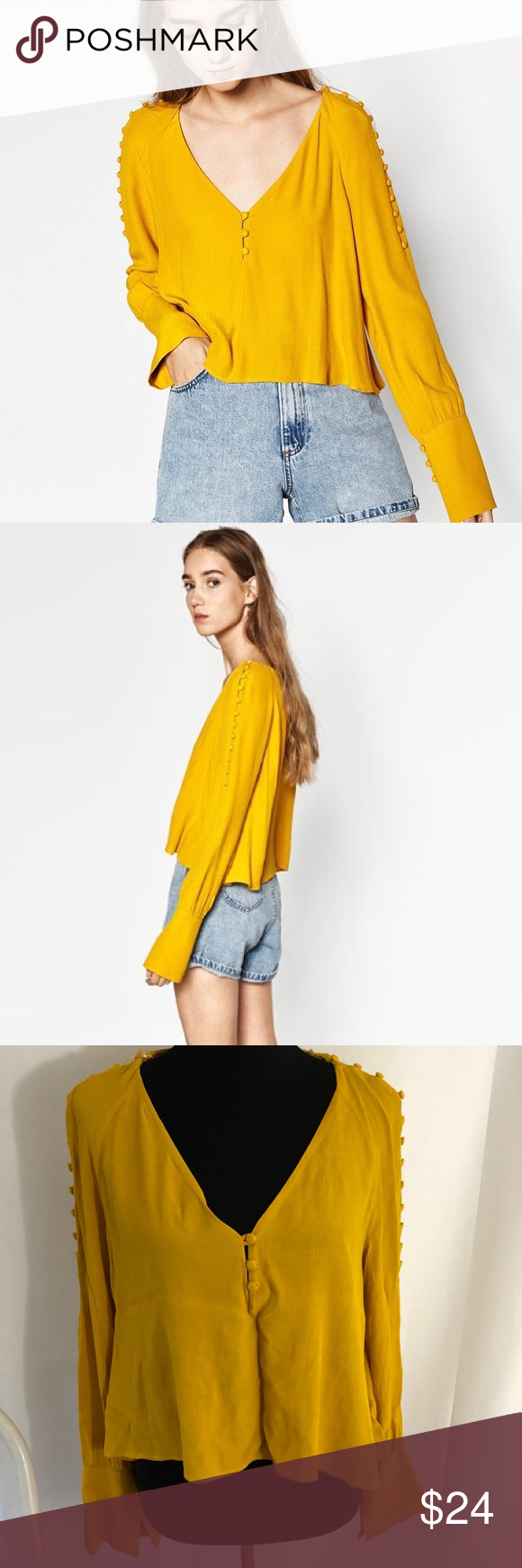 c0401ed42db55 Zara mustard cropped blouse buttons on arms Zara trafaluc collection  mustard colored long sleeve cropped top with buttons on shoulders that  leads down the ...