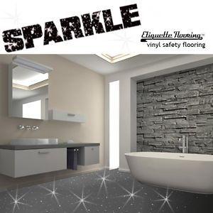Grey Sparkle Safety Flooring Bathroom Floor Vinyl Lino Sparkly Glitter Wetroom Bathroom Flooring Vinyl Flooring Vinyl Flooring Bathroom