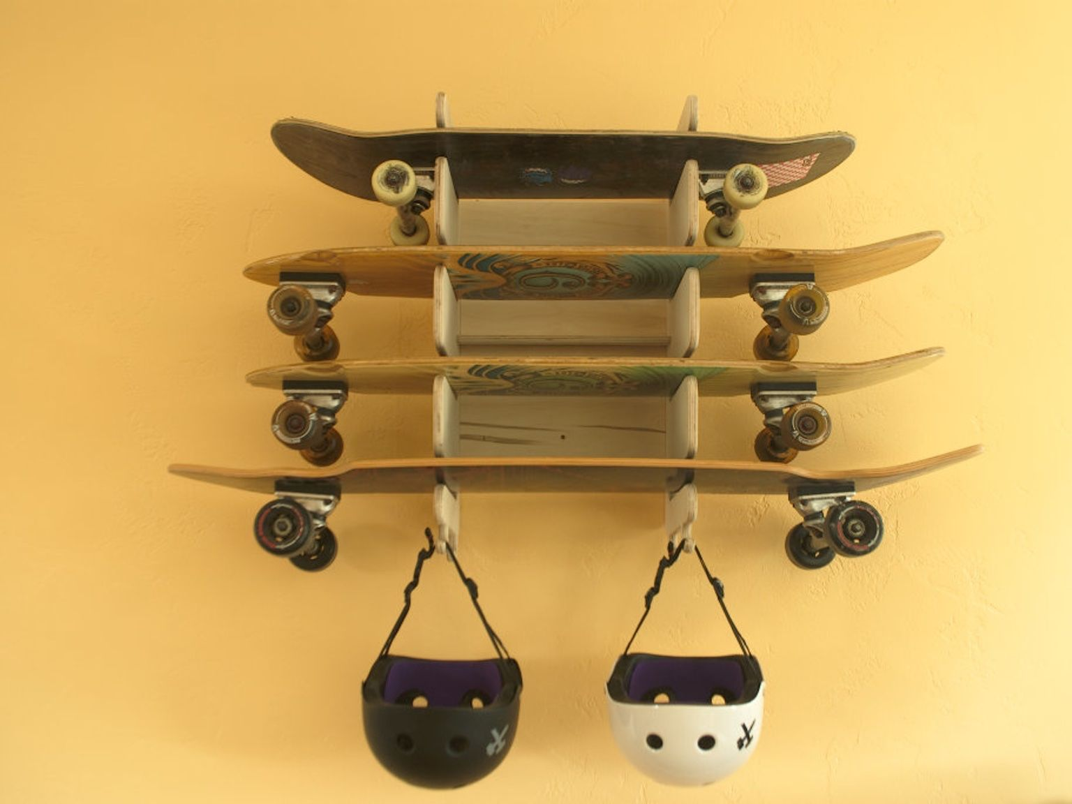 A skateboard rack is the best way to keep your skateboards as awesome as  always. Here 6 easy steps on how to create a skateboard rack yourself and  cheap. e74ca74fedc