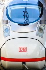 Paris France  April 6 2018 Closeup view of the nose of an ICE highspeed train 407 series run by the german company Deutsche Bahn stationing in Paris Gare de lEst train st...