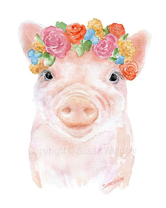 Watercolor Farm Animals with Floral Crowns Art Print Set of 4 Nursery Childrens Room Pig Cow Ducklin