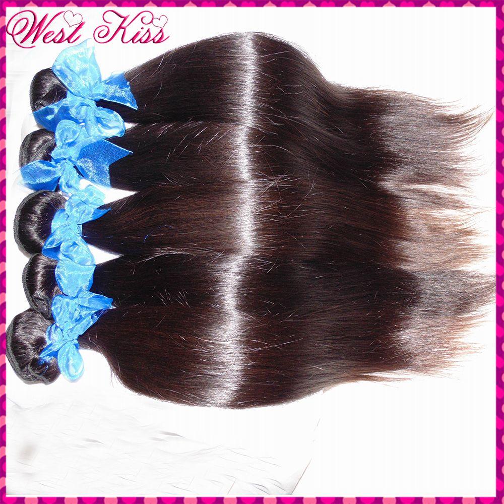 8a Unprocessed Indian Virgin Hair Natural Sleek Straight Weave 5pcs