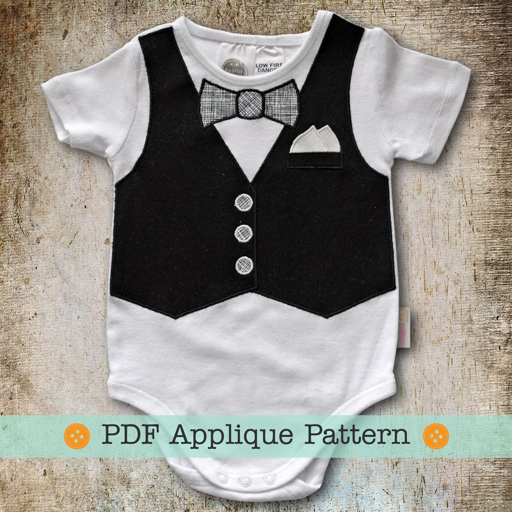 Vest Lique Pattern Pdf Template And Bow Tie For Baby Bodysuit Onesie Or Tshirt Liqued 4 00 Via Etsy