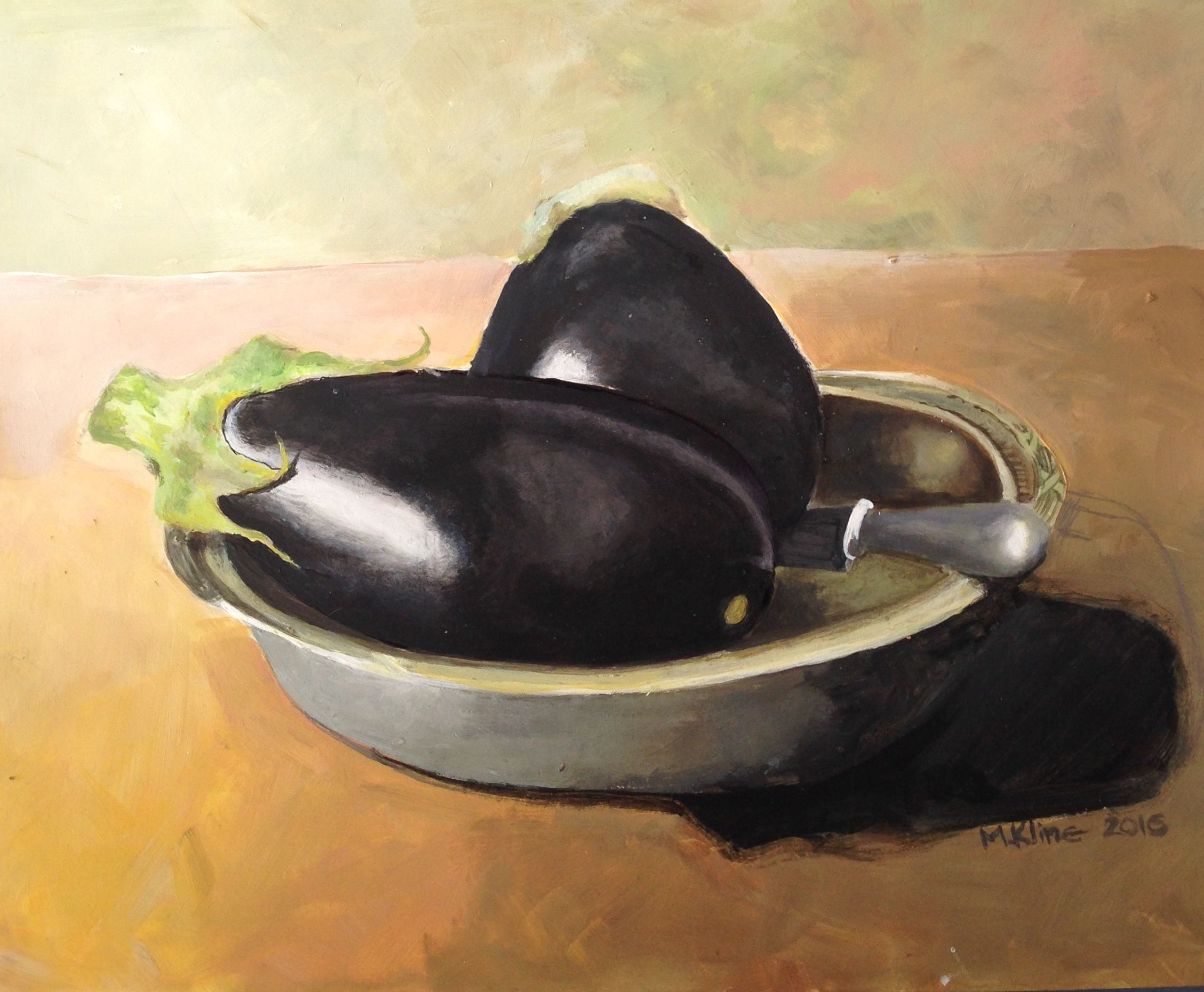 Painting Of Eggplants By Miki Kline Painting Art Decor