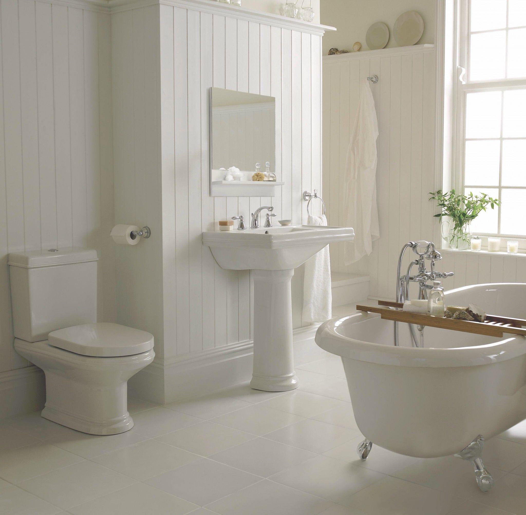 Garden tub decor  simplicity of wainscoating very appealing  Bathroom ideas  Pinterest