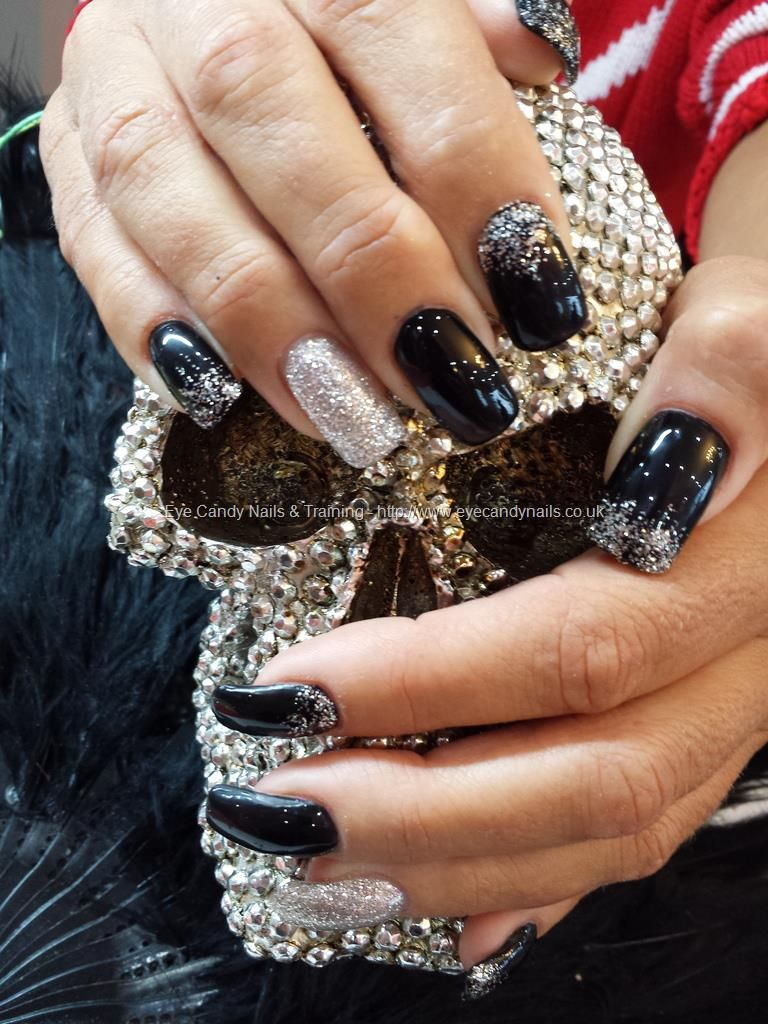 Black gel polish with silver glitter over acrylic nails | NAILS ...