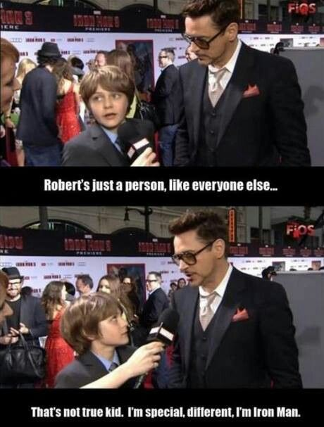 C'mon kid. GET YOUR LIFE TOGETHER AND SAY THAT RIGHT THINGS TO RDJ...in an interview...what is he eight? ohmygodwhatamidoingwithmylife