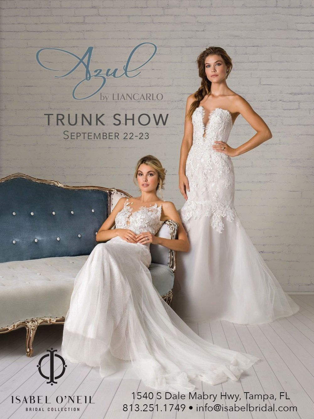 Wedding dress trunk show  AzulbyLiancarloTrunkShowg  EVENTS at Isabel Ouneil Bridal