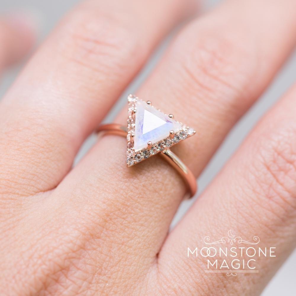 14kt Rosé Gold Vermeil Moonstone Ring - Iconic Delta | Moonstones ...