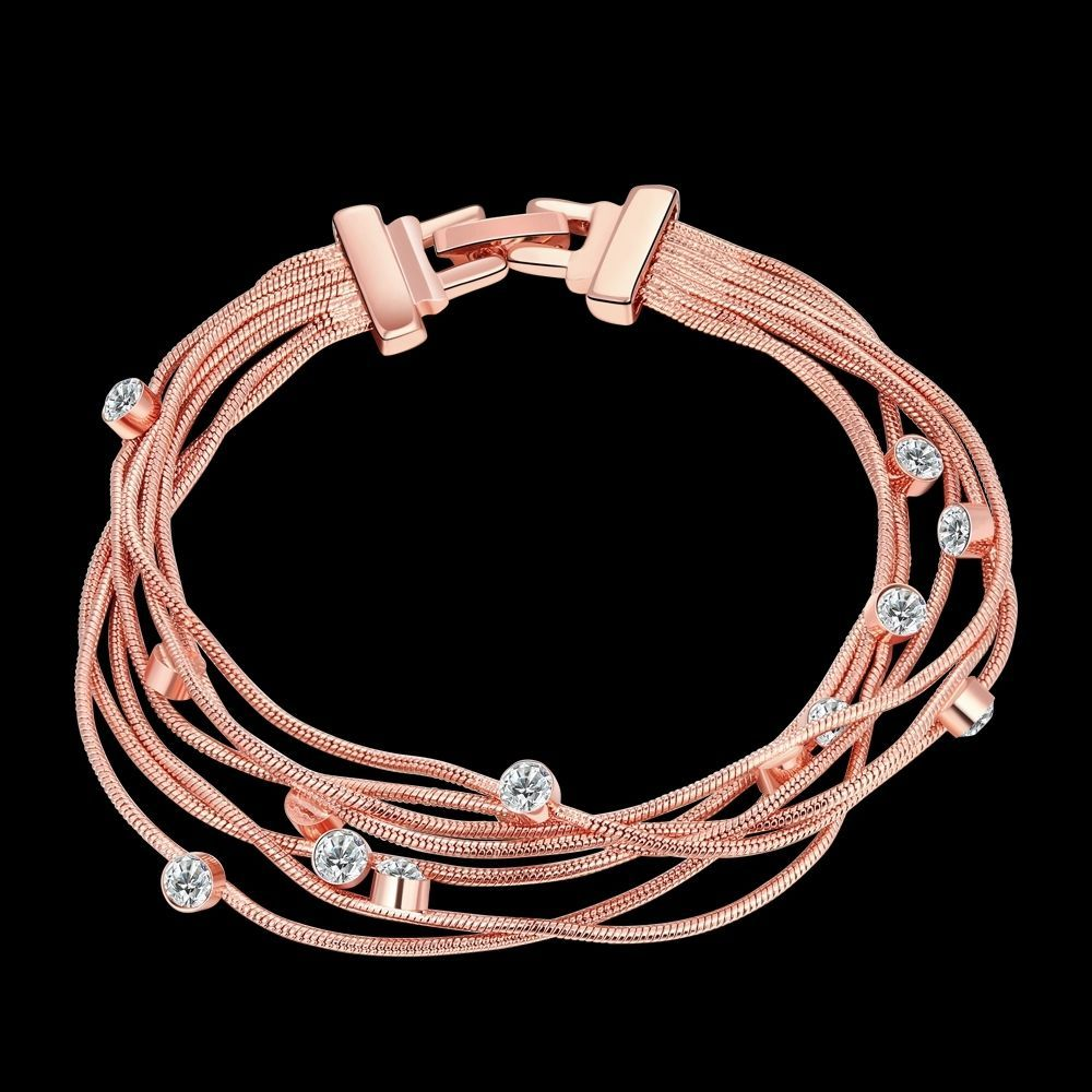 Rose gold plated crystal chain bracelets cuff bangle jewelry wedding