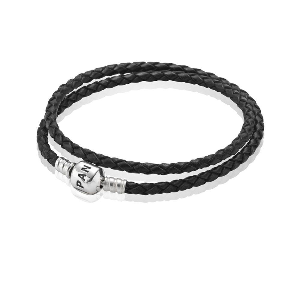 Moments Double Woven Leather Bracelet Black Pandora Uk Pand