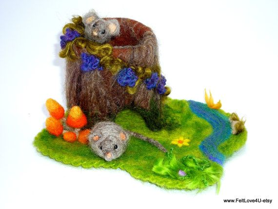 WILD MICE Woodland Placescape©. Two frisky Grey Mice, Tree stump home,  14cmx19cm