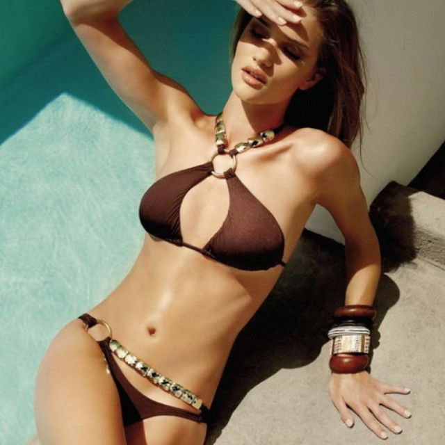 fcb11d41cac Chocolate brown bikini. Love the bangles!
