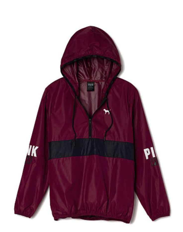 cool Victorias Secret PINK Anorak Pullover Hoodie Windbreaker Jacket Maroon  XS Sm NEW 5ea1654c8