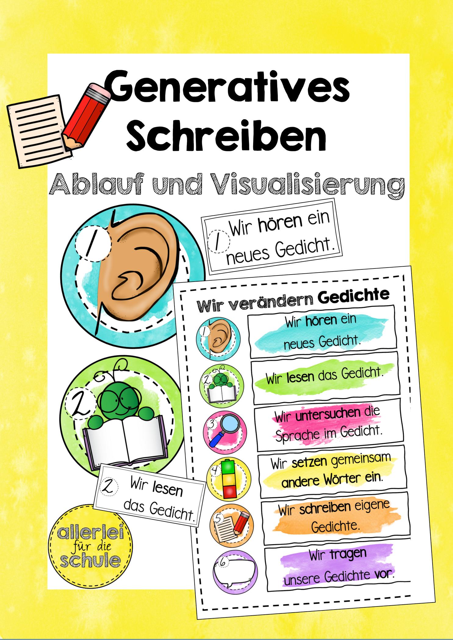 Generatives Schreiben Visualisierung Des Ablaufs Unterrichtsmaterial In Den Fachern Daz Daf Deutsch In 2020 Gedicht Grundschule Unterrichtsmethode Kinder Lesen