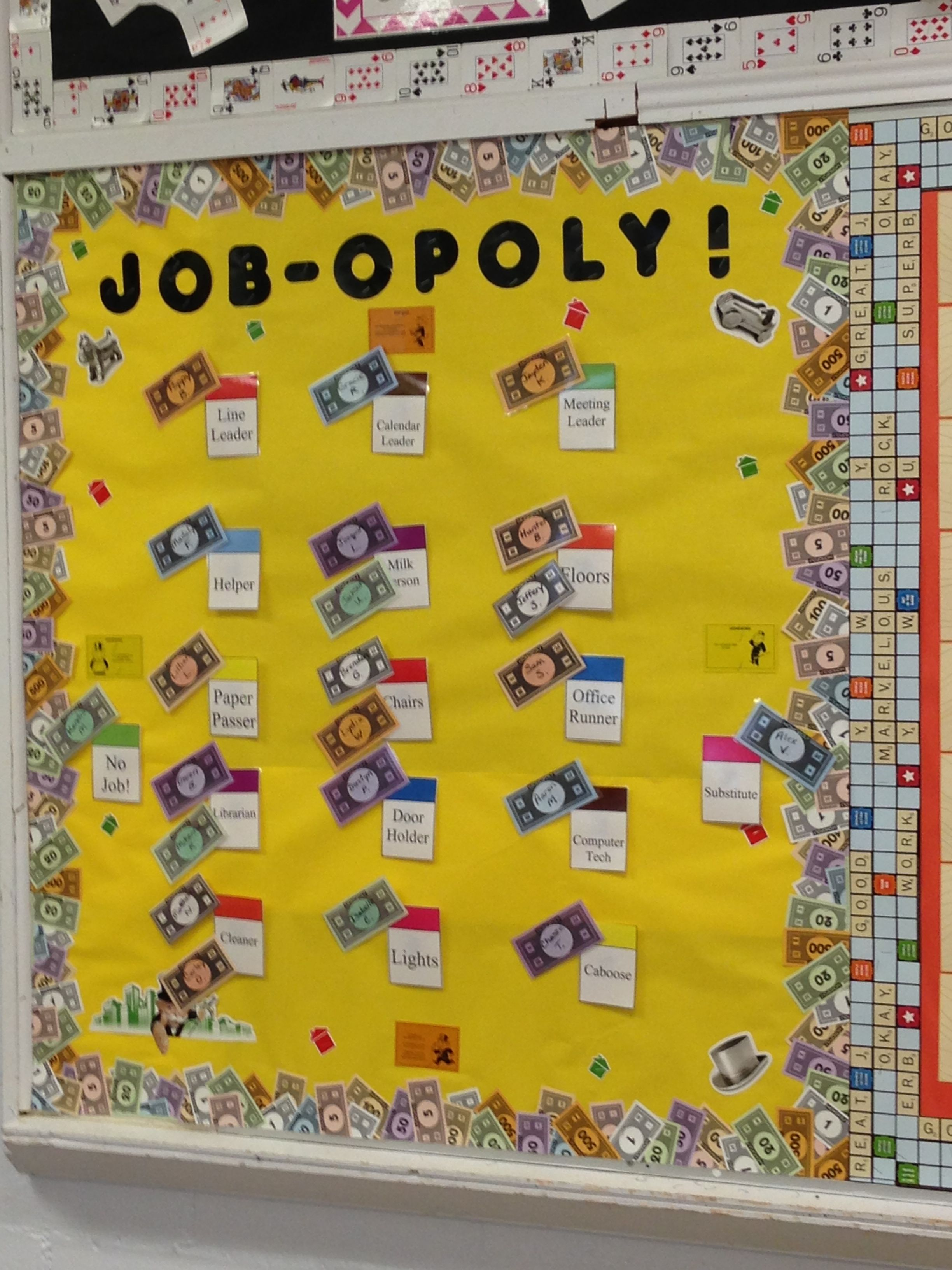 Job-opoly...classroom job board...money and spaces available at my TPT store!